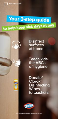 Hey parents! Healthy hygiene habits at home can go a long way to reducing the spread of germs in school and help keep schools out of the hot zone. Here are three simple steps you can take: 1. Take 5 to Disinfect 2. Teach Kids the ABCs of Healthy Hygiene 3. Donate Clorox® Disinfecting Wipes!