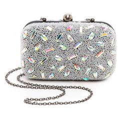 Santi Hologram Bead Box Clutch (740 SAR) ❤ liked on Polyvore featuring bags, handbags, clutches, purses, borse, silver, holographic handbag, embroidered handbags, hard clutch and kisslock handbags
