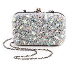 Santi Hologram Bead Box Clutch ($200) ❤ liked on Polyvore featuring bags, handbags, clutches, purses, borse, silver, beaded purse, holographic handbag, santi and kiss-lock handbags