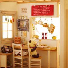 """Let's have fun taking pics of the work I made in the past!!"" Vol.01- ""cafe @ home"", made in 2004, 1/16 scale  昔作った作品を引っ張り出してきて写真撮って楽しもー‼️シリーズ、その1。スケール違うけど…ちびクマ置いてみたり。  #miniature #dollshouse #diorama #ochibitsminiatures #ミニチュア #ドールハウス #オチビッツのミニチュア"