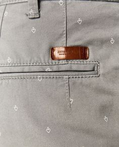 Image 5 of MICRO PRINT CHINO TROUSERS from Zara Men Trousers, Printed Trousers, Trouser Pants, Cotton Jacket, Cotton Pants, Junior Girls Clothing, Tommy Hilfiger Chinos, Fashion Joggers, Khakis