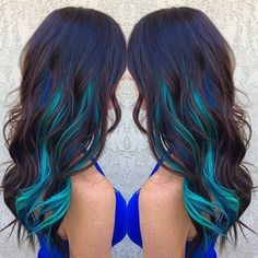 Brown Hair WIth Blue and Turquoise Streaks Hair Colors Ideas