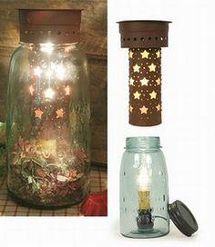 mason jars with candle insert | Details about PRIMITIVE QUART MASON JAR TART WARMER, RED STAR INSERT