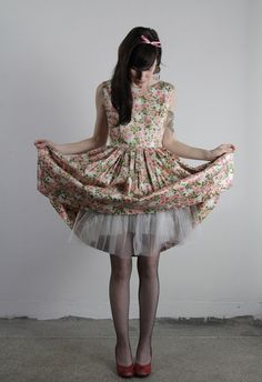 vintage floral print dress with tulle underlay
