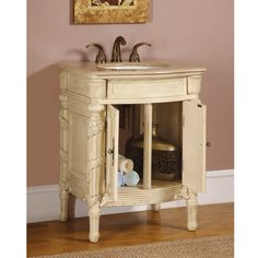 26 Inch Single Sink Bathroom Vanity in Antiqued White with a Travertine Top UVSR013426