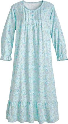 Our charming floral flannel gown is soft, warm and happy. This cotton nightgown with pockets and feminine flourishes has an easy fit to make you smile. Night Gown Dress, Cotton Nighties, Flannel Nightgown, Nightgown Pattern, Pajama Outfits, Night Dress For Women, Nightgowns For Women, Sleepwear Women, Maternity Wear