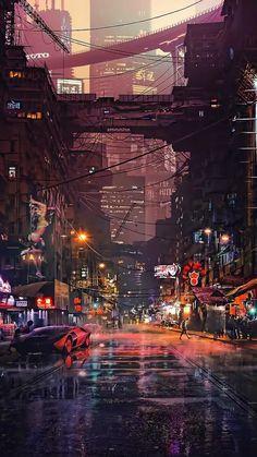 Really cool phone wallpaper - cyberpunk post