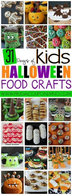 Food Crafts for Kids on Frugal Coupon Living. Classroom Snack Ideas, spooky food for kids, and October snack ideas.Halloween Food Crafts for Kids on Frugal Coupon Living. Classroom Snack Ideas, spooky food for kids, and October snack ideas. Buffet Halloween, Dulces Halloween, Postres Halloween, Halloween Food Crafts, Hallowen Food, Halloween Goodies, 31 Days Of Halloween, Halloween Birthday, Halloween Activities
