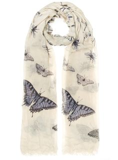 Pastel scarf with cute butterflies and bugs in pretty pastel colours on an oversized spec.