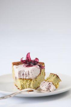 matcha white chocolate cake with hibiscus cream
