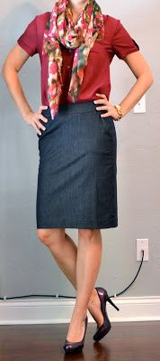 Outfit Posts: outfit post: denim pencil skirt, maroon camp shirt, floral scarf