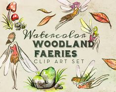 Watercolor Woodland Faerie Tale Clipart Set  by AntlerAndTwine