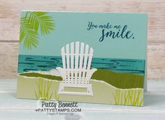Beach Card Idea featuring Seasonal Layers adirondack chair framelit die and Fabulous Flamingo stamp set, by Patty Bennett