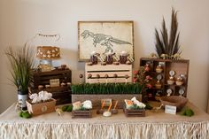 Adorable rustic dinosaur party with a neutral brown and green color palate. Dinosaur party birthday ideas for food, favors, decorations, dessert, and more!