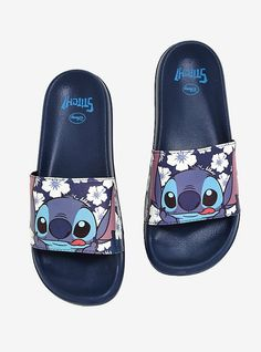 Lilo And Stitch Tees, Merchandise & More Disney Lilo & Stitch Tropical Slide Sandals - BoxLunch Exclusive, BLUE<br>