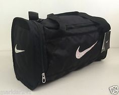 NIKE BRASILIA 6 X EXTRA SMALL CUSTOM CRYSTAL BLING BLACK WHITE DUFFLE GYM  BAG  Nike 5f580b1b42668