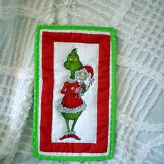 Grinch Handmade Christmas Quilt Ornament by WhimseyWabbit on Etsy, $14.00 plus FREE SHIPPING in the USA http://WhimseyWabbit.etsy.com