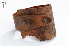 Genuine Leather Wide-Wrap Bracelet in Washed Copper (Brown) - Wedding bracelets (*Amazon Partner-Link)