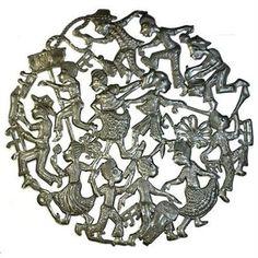 32-Inch Recycled Steel Drum Art - Celebration Design - Croix des Bouquets