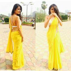 Indian Dresses, Indian Outfits, Saree Backless, Saree Poses, Simple Sarees, Trendy Sarees, Saree Photoshoot, Yellow Saree, Plain Saree