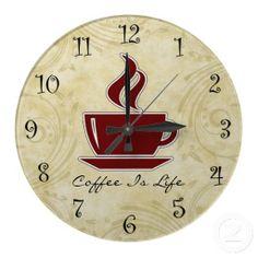 coffee kitchen decor | Coffee Kitchen Wall Clocks