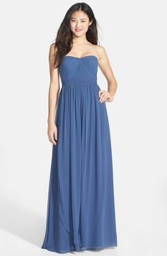 Nordstrom Jenny Yoo 'Aidan' Convertible Strapless Chiffon Gown (Regular & Plus Size) in Evening Blue