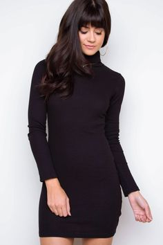 Dana Turtleneck Sweater Dress - Black
