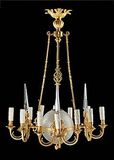 French Antique Gilt Bronze Chandelier with Etched Glass Globe