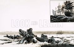 Journey Into Oblivion. Sir John Franklin's expedition set off in good spirits but the pitiless Arctic claimed them as another victim of the search for the North-West Passage; (inset) The whaling ship Enterprise was the last ship to meet up with Franklin's ship. Original artwork from Look and Learn no. 816 (3 September 1977). ArtistGraham Coton