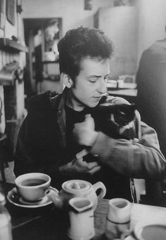 Bob Dylan, coffee and a kitten.  Three of my favorite things in one picture. :)