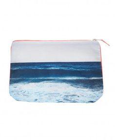 Tulum Navy Wave Pouch - DEZSO BY SARA BELTRAN Tulum Navy Wave Pouch