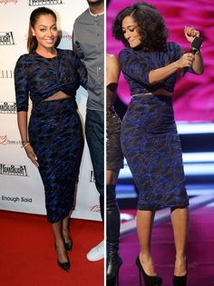 Arfen Black and Blue Crop Top and High Waisted Skirt. (Worn by: Lala Anthony & Tracee Ellis Ross)