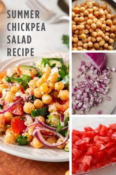 Vegan Recipes Easy, Healthy Dinner Recipes, Delicious Recipes, Yummy Food, Healthy Lunches, Healthy Dishes, Healthy Cooking, Chickpea Salad Recipes, Summer Salad Recipes