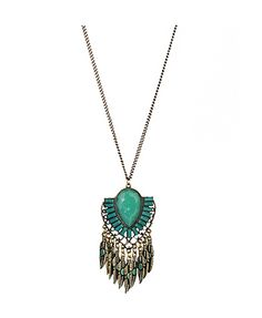 Colored Stone Nceklace with Feather Fringe
