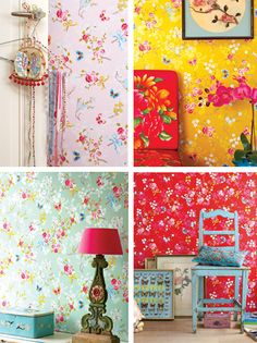 Kids Room Wallpaper, Cool Wallpaper, Dream Bedroom, Kids Bedroom, Vintage Bedroom Styles, Bedroom Murals, Little Girl Rooms, Tile Patterns, Kidsroom