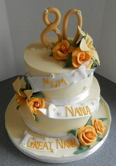 80th birthday cake in yellow - Cake by barbscakes