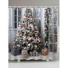 Christmas Tree Gift Print Waterproof Shower Curtain
