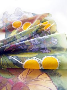 #Silk #scarf hand #painted by #polish artist Luiza #Malinowska #minkulul with #floral pattern of #dandelions, #bugle, #pansy and #begonia #leafs.  Great #gift for #botanist or #biology teacher!  Find on Etsy!