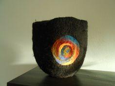 Wet felted merino wool vessel