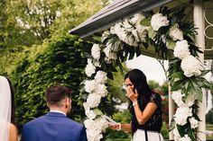 Emotional Wedding Ready | Floral Arch - Samuel Docker Photography | Lemore Manor Wedding with Green Fern & Travel Decor & White Flowers | Pronovias Wedding Dress