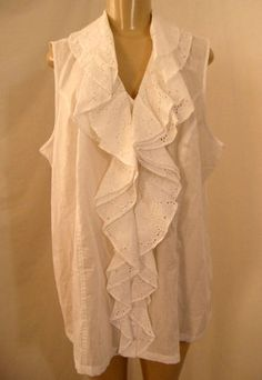 NWT Jones New York Bright White Eyelet Cascading Ruffle Sleeveless Top Blouse 2X 1x | eBay $49.99