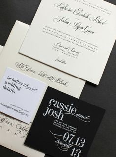 Wedding #Invitations - #Font Love |  Click thru to View Post of this elegant #BlackandWhite Wedding on http://www.StyleMePretty.com/2014/01/20/classic-pacific-palisades-wedding | DesiBaytan.com Photography