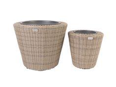 2 Piece Circular Resin Wicker Planter with Plastic Inlays - CC500