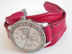 leon / Dámsky červený kožený remienok, hodinky FOSSIL