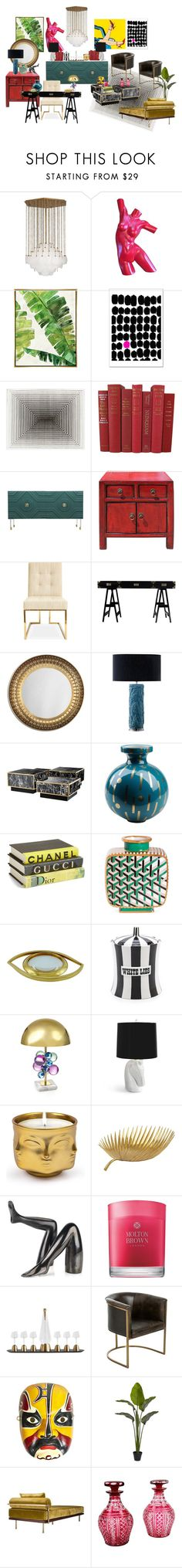 """""""Destino Study"""" by courtney-lauren-porter ❤ liked on Polyvore featuring interior, interiors, interior design, home, home decor, interior decorating, Jonathan Adler, Barclay Butera, ModShop and Selamat"""