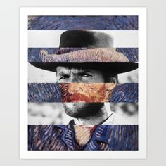 "Van Gogh's ""Self Portrait + Clint Eastwood Art Print by Luigi Tarini - $20.00"