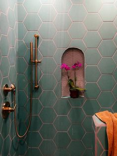 I like the complimentary tile in the nook diy bathroom decor A Family Affair: Guest Bathroom