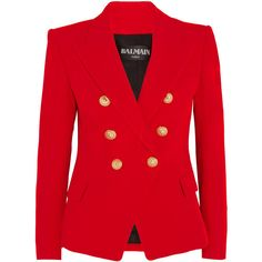 Balmain Double-breasted crepe blazer (€1.880) ❤ liked on Polyvore featuring outerwear, jackets, blazers, blazer, balmain, red double breasted jacket, red jacket, shoulder pad blazer and shoulder pad jacket
