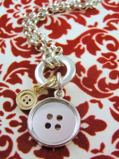 2 Button Necklace Sterling Silver & 9ct Yellow by CherishButton