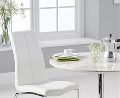 Delaney Round High Gloss Carrera Grey Dining Table With Cavello Dining Chairs Space Saving Dining Table, Grey Dining Tables, Oak Table, Dining Chairs, Oak Furniture Superstore, White Table Top, Table Height, Table Seating, Small Dining
